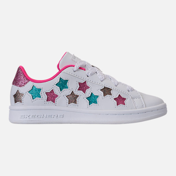 Right view of Girls' Preschool Skechers Omne - Lil Star Side Casual Shoes in White/Multi