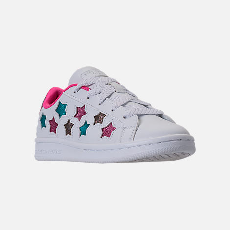 Three Quarter view of Girls' Preschool Skechers Omne - Lil Star Side Casual Shoes in White/Multi