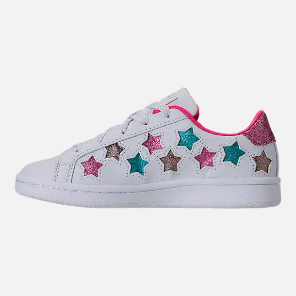 Left view of Girls' Preschool Skechers Omne - Lil Star Side Casual Shoes in White/Multi