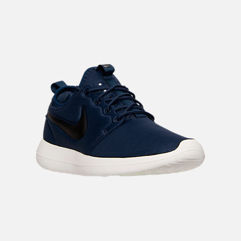 Three Quarter view of Men's Nike Roshe Two Casual Shoes in Midnight Navy/Black/Sail/Volt