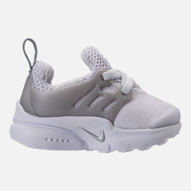 Right view of Boys' Toddler Nike Little Presto Running Shoes in White/Metallic Silver/Wolf Grey