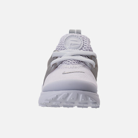Front view of Boys' Toddler Nike Little Presto Running Shoes in White/Metallic Silver/Wolf Grey