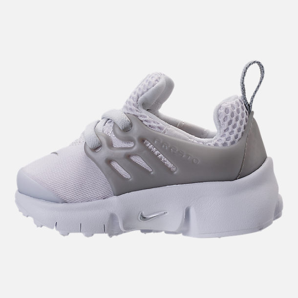 Left view of Boys' Toddler Nike Little Presto Running Shoes in White/Metallic Silver/Wolf Grey