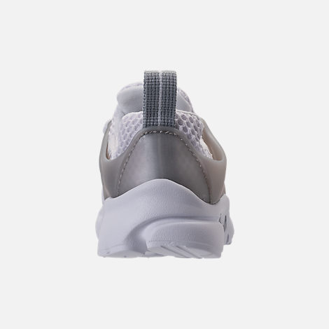 Back view of Boys' Toddler Nike Little Presto Running Shoes in White/Metallic Silver/Wolf Grey