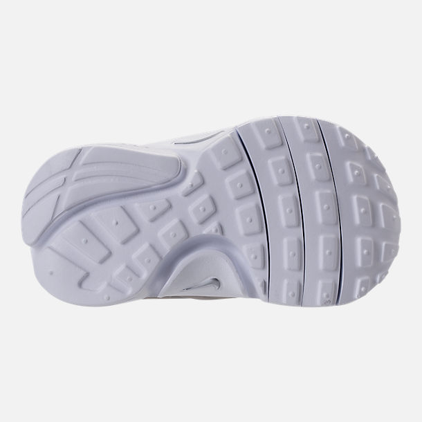 Bottom view of Boys' Toddler Nike Little Presto Running Shoes in White/Metallic Silver/Wolf Grey