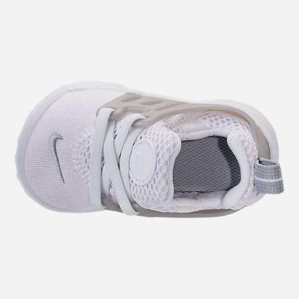Top view of Boys' Toddler Nike Little Presto Running Shoes in White/Metallic Silver/Wolf Grey