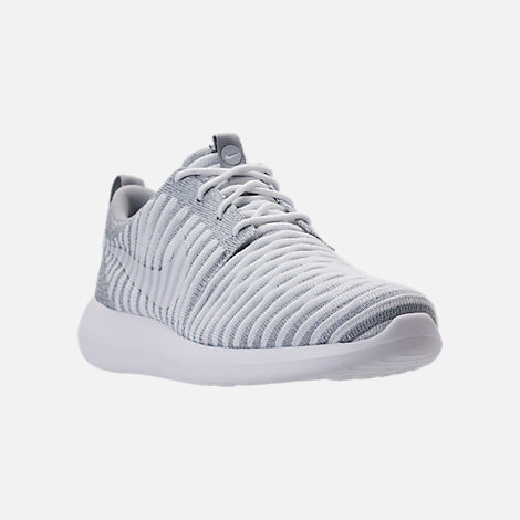Three Quarter view of Women's Nike Roshe Two Flyknit Casual Shoes in Wolf Grey/White