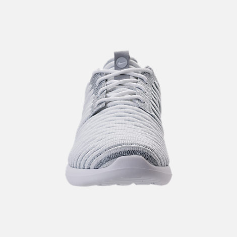 Front view of Women's Nike Roshe Two Flyknit Casual Shoes in Wolf Grey/White