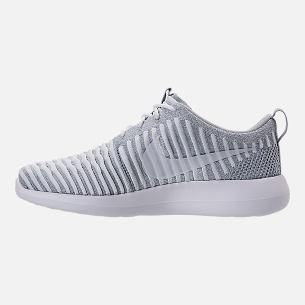 Left view of Women's Nike Roshe Two Flyknit Casual Shoes in Wolf Grey/White