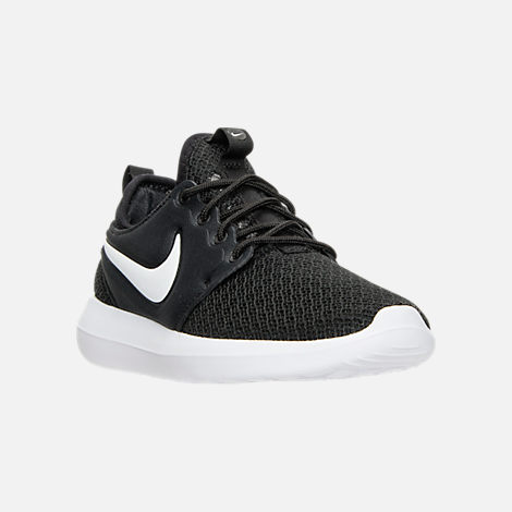 Three Quarter view of Women's Nike Roshe Two Casual Shoes in Black/White