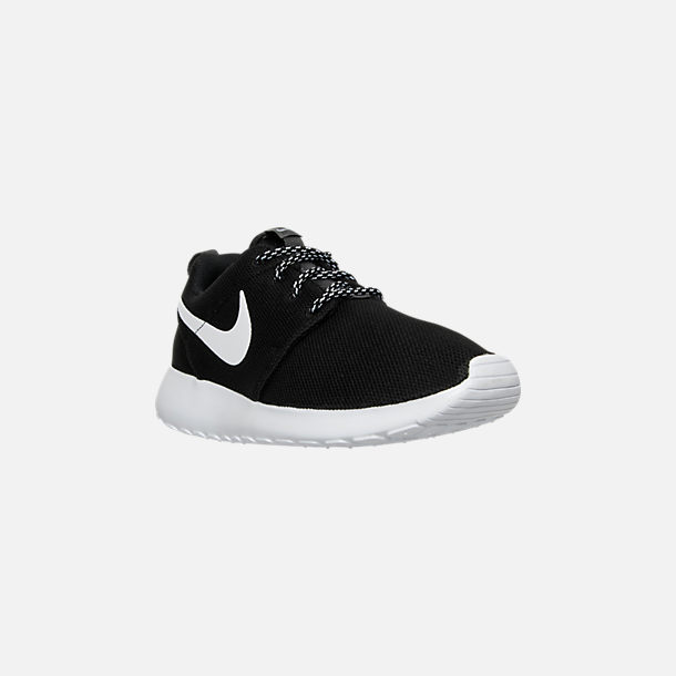 Three Quarter view of Women's Nike Roshe One Casual Shoes in Black/White/Dark Grey