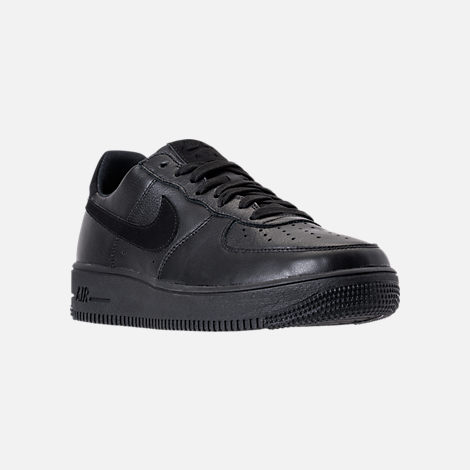 Three Quarter view of Men's Nike Air Force 1 Ultra Force Leather Casual Shoes in Black/Black/White