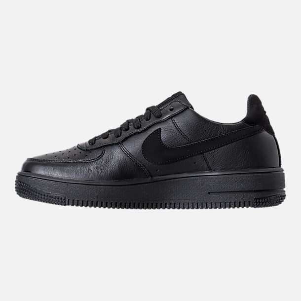 Left view of Men's Nike Air Force 1 Ultra Force Leather Casual Shoes in Black/Black/White