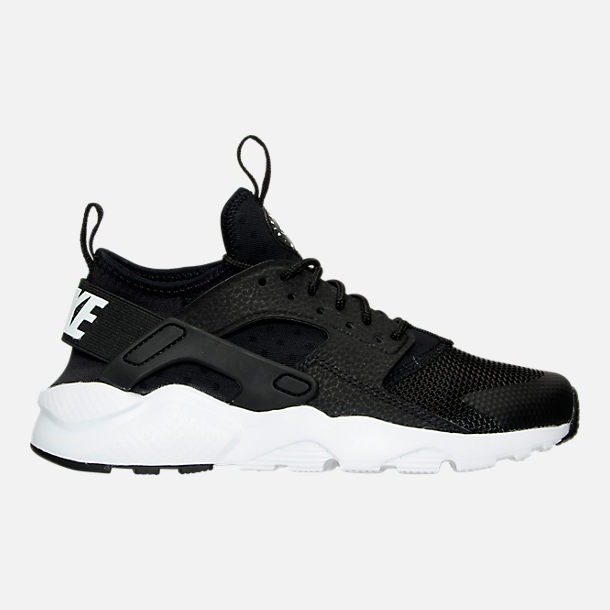 Right view of Boys' Grade School Nike Air Huarache Run Ultra Casual Shoes in Black/White
