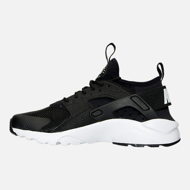 Left view of Boys' Grade School Nike Air Huarache Run Ultra Casual Shoes in Black/White