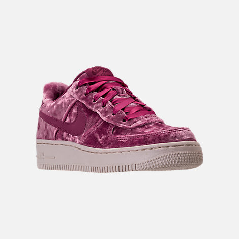 Three Quarter view of Girls' Grade School Nike Air Force 1 LV8 Casual Shoes in Tea Berry/Bordeaux/Light Orewood