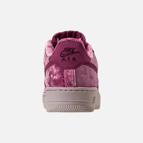 Back view of Girls' Grade School Nike Air Force 1 LV8 Casual Shoes in Tea Berry/Bordeaux/Light Orewood