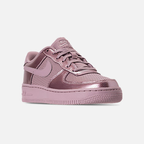Three Quarter view of Girls' Big Kids' Nike Air Force 1 LV8 Casual Shoes in Elemental Rose/Elemental Rose
