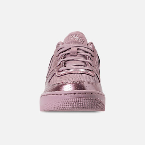 Front view of Girls' Big Kids' Nike Air Force 1 LV8 Casual Shoes in Elemental Rose/Elemental Rose
