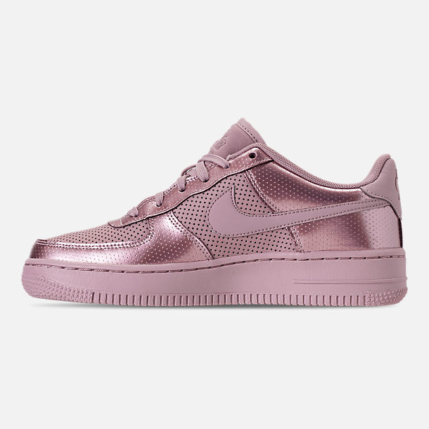 Left view of Girls' Big Kids' Nike Air Force 1 LV8 Casual Shoes in Elemental Rose/Elemental Rose