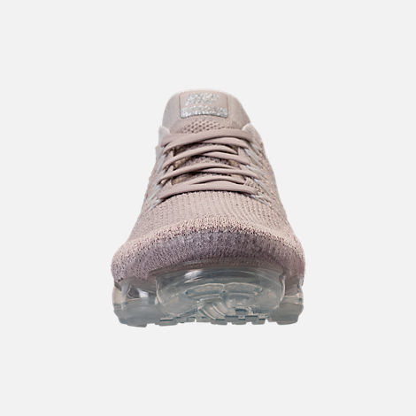 Front view of Women's Nike Air VaporMax Flyknit Running Shoes in String/Chrome/Sunset Glow/Taupe