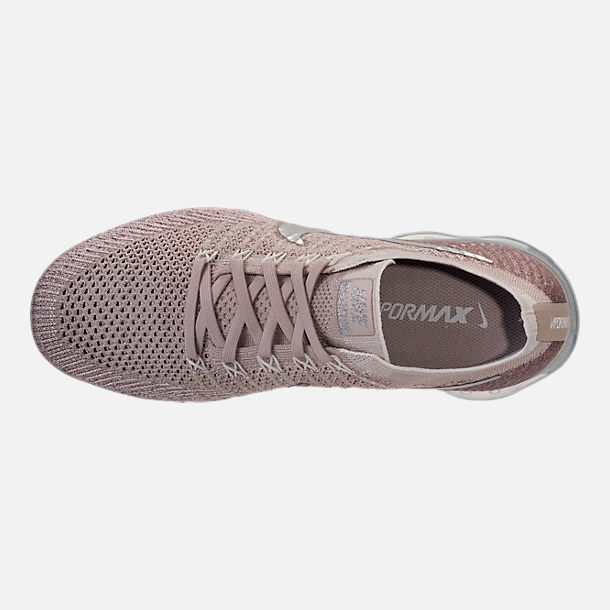 Top view of Women's Nike Air VaporMax Flyknit Running Shoes in String/Chrome/Sunset Glow/Taupe