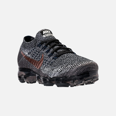 Three Quarter view of Men's Nike Air VaporMax Flyknit Running Shoes in Black/Summit White/Red Bronze