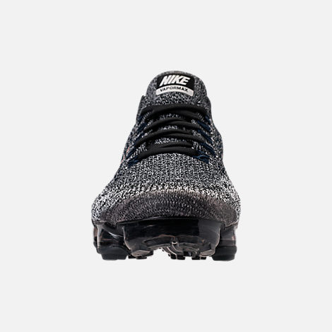 Front view of Men's Nike Air VaporMax Flyknit Running Shoes in Black/Summit White/Red Bronze