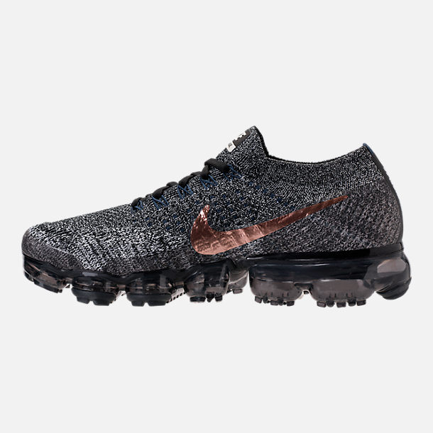 Left view of Men's Nike Air VaporMax Flyknit Running Shoes in Black/Summit White/Red Bronze