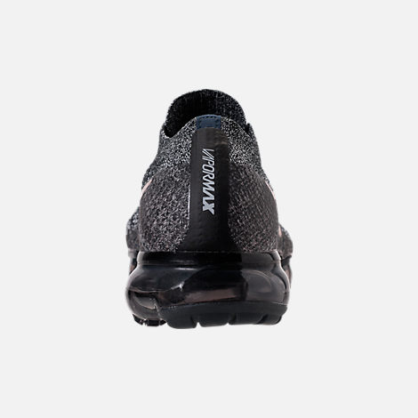 Back view of Men's Nike Air VaporMax Flyknit Running Shoes in Black/Summit White/Red Bronze