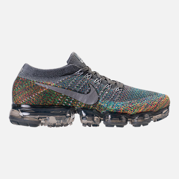 Right view of Men's Nike Air VaporMax Flyknit Running Shoes in Dark Grey/Reflect Silver/Blue Orbit