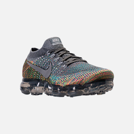 Three Quarter view of Men's Nike Air VaporMax Flyknit Running Shoes in Dark Grey/Reflect Silver/Blue Orbit