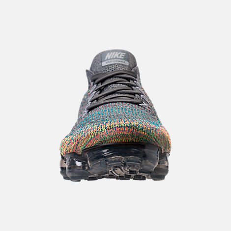 Front view of Men's Nike Air VaporMax Flyknit Running Shoes in Dark Grey/Reflect Silver/Blue Orbit