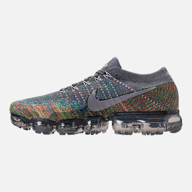Left view of Men's Nike Air VaporMax Flyknit Running Shoes in Dark Grey/Reflect Silver/Blue Orbit