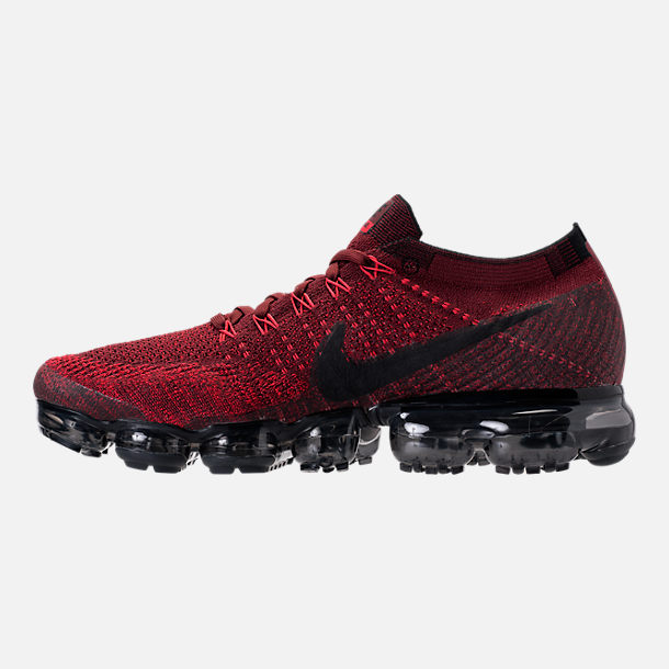 Left view of Men's Nike Air VaporMax Flyknit Running Shoes in Dark Team Red/Black/University Red