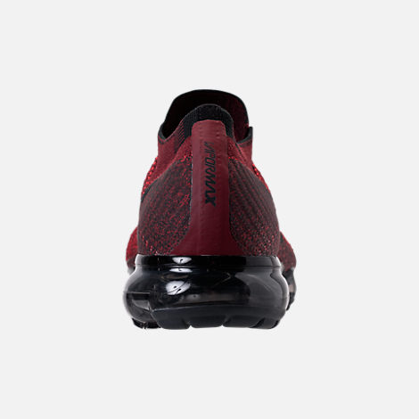 Back view of Men's Nike Air VaporMax Flyknit Running Shoes in Dark Team Red/Black/University Red