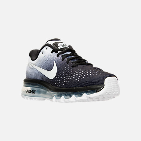 Three Quarter view of Women's Nike Air Max 2017 Running Shoes in Black/White