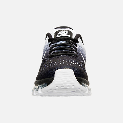 Front view of Women's Nike Air Max 2017 Running Shoes in Black/White