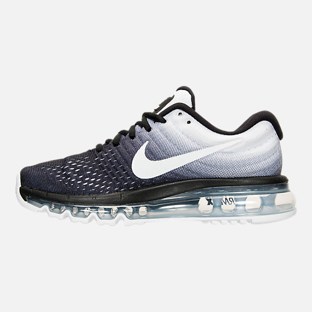 Left view of Women's Nike Air Max 2017 Running Shoes in Black/White