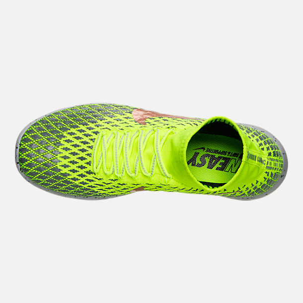 679158f1b374 ... Top view of Mens Nike LunarEpic Flyknit Shield Running Shoes in  VoltMetallic Red Bronze ...