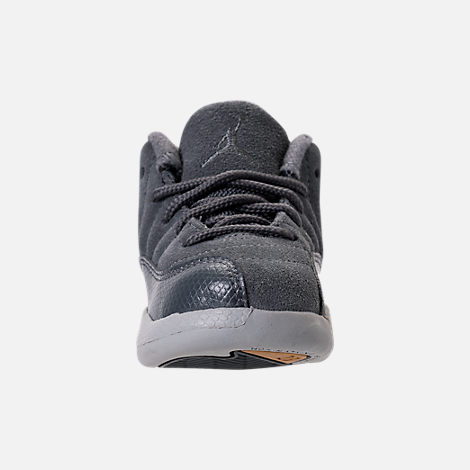 Front view of Kids' Toddler Air Jordan Retro 12 Basketball Shoes in Dark Grey/Wolf Grey/Golden Harvest