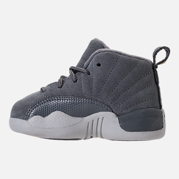 Left view of Kids' Toddler Air Jordan Retro 12 Basketball Shoes in Dark Grey/Wolf Grey/Golden Harvest