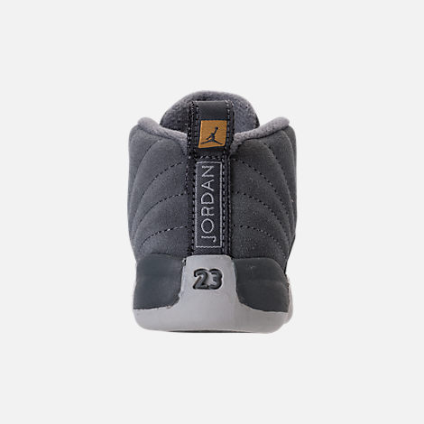 Back view of Kids' Toddler Air Jordan Retro 12 Basketball Shoes in Dark Grey/Wolf Grey/Golden Harvest