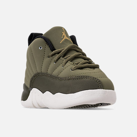Three Quarter view of Kids' Toddler Air Jordan Retro 12 Basketball Shoes in Olive Canvas/Black/Sail