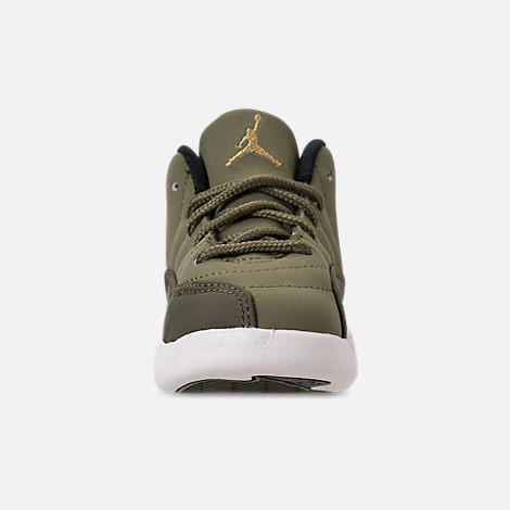 Front view of Kids' Toddler Air Jordan Retro 12 Basketball Shoes in Olive Canvas/Black/Sail