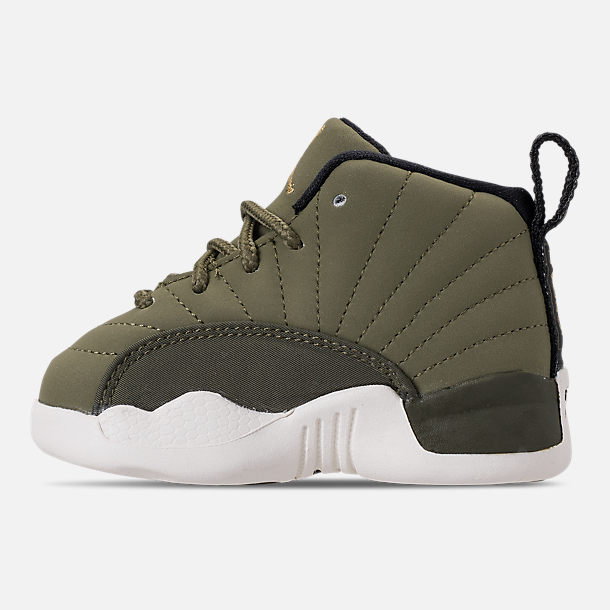Left view of Kids' Toddler Air Jordan Retro 12 Basketball Shoes in Olive Canvas/Black/Sail