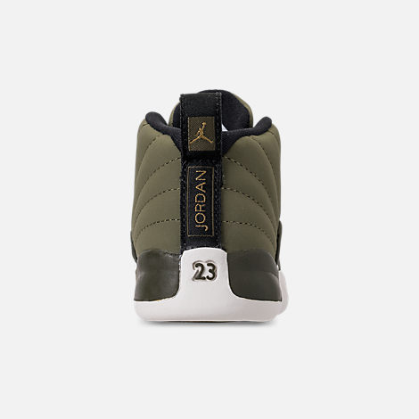 official photos dd5ad 7669a Back view of Kids  Toddler Air Jordan Retro 12 Basketball Shoes in Olive  Canvas