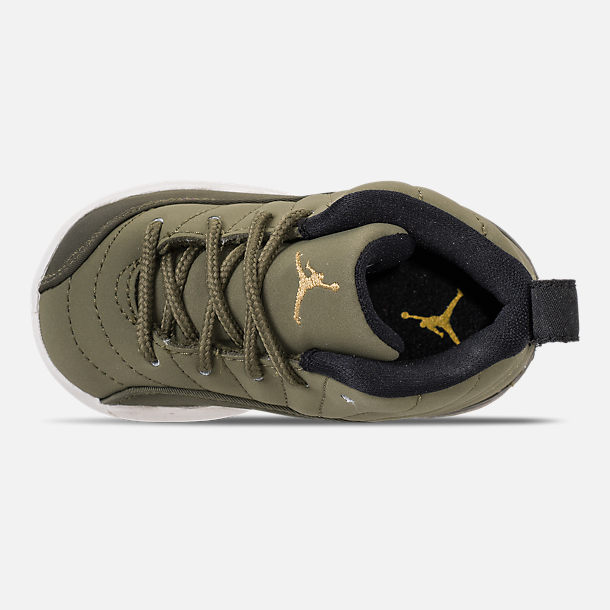 Top view of Kids' Toddler Air Jordan Retro 12 Basketball Shoes in Olive Canvas/Black/Sail