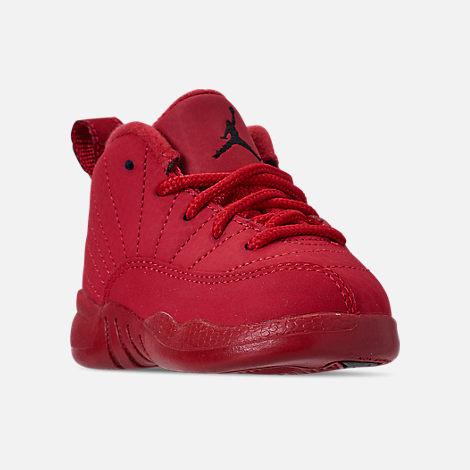 Three Quarter view of Kids  Toddler Air Jordan Retro 12 Basketball Shoes in  Gym Red 329f8dbba