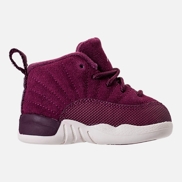 Right view of Kids' Toddler Air Jordan Retro 12 Basketball Shoes in Bordeaux/Sail/Metallic Silver